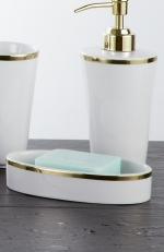 Sofia Nicol аксессуары для ванной фарфоровые настольные золотая Мыльница
