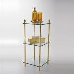 Elements этажерка стеклянная тройная золотая