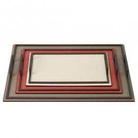 . Кожаный поднос металлическими ручками Defile rectangular trays by GioBagnara