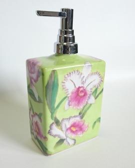 . Decor Walther Аксессуары для ванной настольные ORCHI фарфоровые с цветочным декором Дозатор