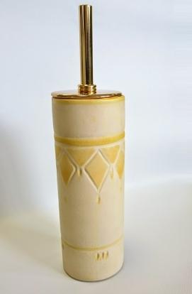 . SOLE Marmores Ёршик для унитаза напольный керамический с золотым декором желтый