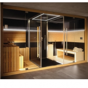 Душевые кабины Створки стеклянные Шторки для душа. Jacuzzi Sasha 2.0 Комплекс Сауна+Hammam+душ, сауна -SX (левый вариант), цвет черный+ audio комплект