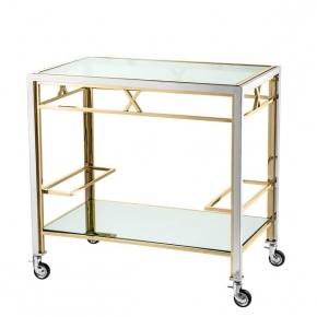 Журнальные Приставные Кофейные столы. Eichholtz Trolley Lindon столик сервировочный золото сталь на роликах