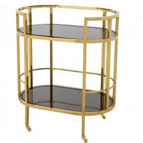 Журнальные Приставные Кофейные столы. Eichholtz Townhouse столик сервировочный золотой на роликах