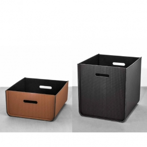 Хранение и порядок. Pinetti Atena кожаная коробка универсальная ёмкость декорированная без крышки