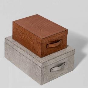 Хранение и порядок. Pinetti Ares кожаная коробка универсальная ёмкость декор кожа Крокодила