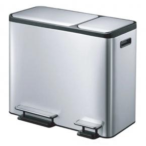 Мусорные баки и вёдра для кухни. EKO мусорное ведро с педалями из нержавеющей стали с двумя отдельными ёмкостями прямоугольное 30л+15л
