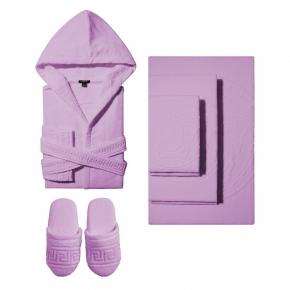 Халаты Одежда для бани и сауны Deluxe. Versace home collection Medusa Classic халат махровый, тапочки и полотенца сиреневый