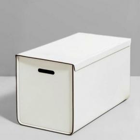 Хранение и порядок. Pinetti Atena Taupe кожаная коробка универсальная ёмкость белый