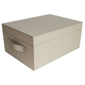 Хранение и порядок. Pinetti Ares Taupe кожаная коробка универсальная ёмкость таупе