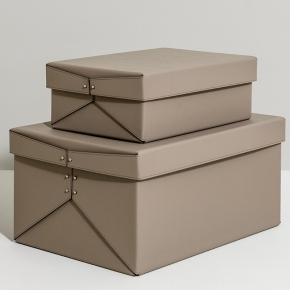 Хранение и порядок. Pinetti Taupe кожаная коробка универсальная ёмкость таупе
