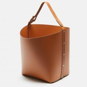 Хранение и порядок. Pinetti Tan кожаная корзина универсальная ёмкость коричневая
