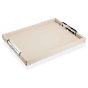 Аксессуары и Мебель для дома. Поднос прямоугольный кожаный с металлическими ручками слоновая кость Виктор GioBagnara