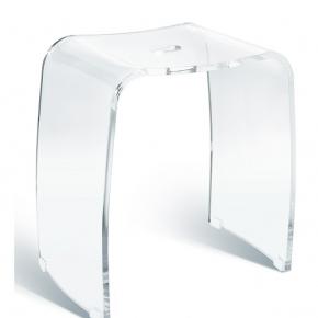 Банкетки для ванной Пуфы Интерьерные Табуреты для ванной и душа Откидные сиденья. Meran акриловый табурет для ванной прозрачный с прорезной ручкой бесцветный