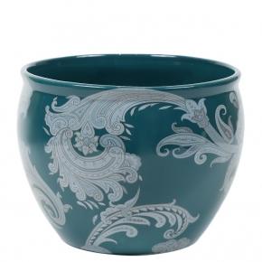 Кашпо. Кашпо керамическое с тонким цветным узором горшок Etro