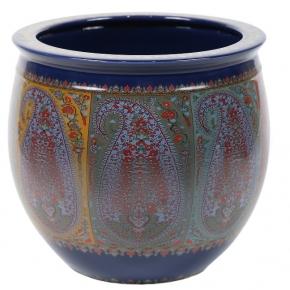 Кашпо. Кашпо керамическое с тонким цветным узором Etro