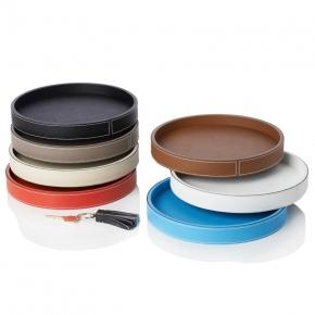 . Кожаный лоток круглый Polo round trays by GioBagnara