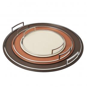 Аксессуары и Мебель для дома. Поднос кожаный круглый Defile round trays by GioBagnara