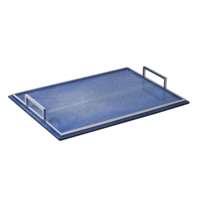 . Поднос кожа Ската Defile Shagreen decorative tray cobalt blue by GioBagnara