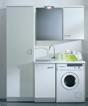 . Lavatoi Мебель для постирочной комнаты, постирочная раковина с крылом для стиральной машины и высокий шкаф
