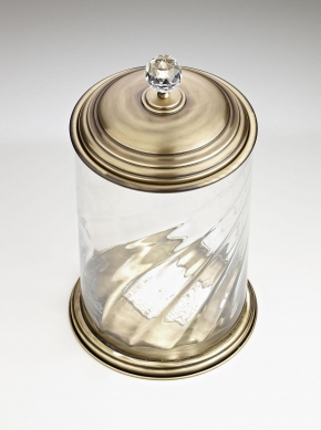 Вёдра с педалью Дровницы Вёдра. Корзина стеклянная с металлической крышкой AC-0215B0209 Old British Bronze