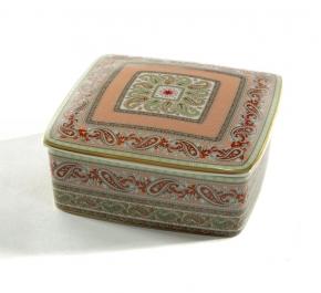 Посуда Столовые приборы Декор стола Deluxe. Шкатулка фарфоровая с узором (квадратная)