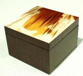 Боксы для часов и украшений Шкатулки Deluxe. Шкатулка квадратная (темный рог) 12 х 12 см