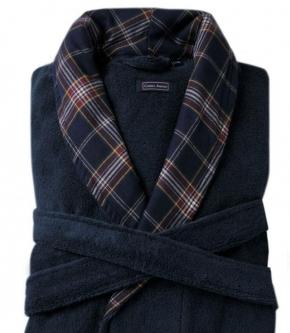 Халаты Одежда для бани и сауны. Халат мужской Oxford (Оксфорд) (S/M; L/XL) темно-синий от Casual Avenue