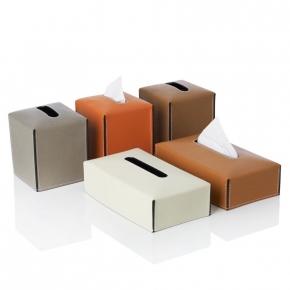 . Салфетница кожаная Suite tissue box covers by GioBagnara квадратная и прямоугольная