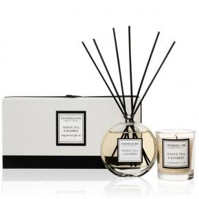 Ароматические свечи Парфюм для дома Диффузоры. Подарочный набор Свеча (6,5х5,5 см.) и Диффузор (90 мл.) Белый чай и Бамбук от Stone Glow Арт.4145