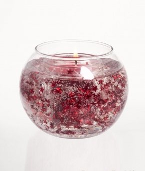 Новый Год. Свеча в шарообразном стекле Красная смородина и клюква 10 см от Stone Glow Арт. 2207