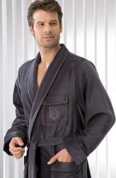 Халаты Одежда для бани и сауны.          Халат мужской 3799. Серый