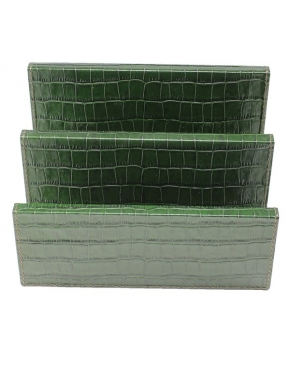Аксессуары для кабинета Deluxe. Подставка для бумаг кожаная Leather Mail Holder GioBagnara Green Croc