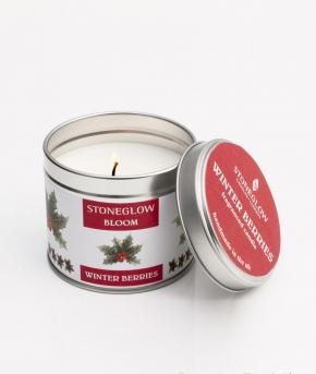 . Свеча в жестяной баночке с крышкой Зимние ягоды от Stone Glow  Арт.3573