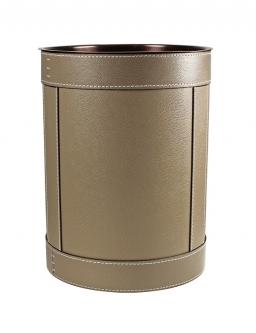 Аксессуары для кабинета Deluxe. Ведро кожаное круглое Rotondo waste paper basket by GioBagnara taupe