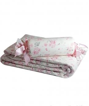 Пледы Покрывала Deluxe. Покрывало (270×270)и две подушечки (36см.) Armonia Бело-Розовый от Blumarine