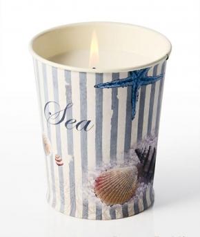 Ароматические свечи Парфюм для дома Диффузоры. Свеча в жестяном горшочке с принтом Морской от Stone Glow Art.3477