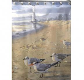 Шторки для душа и ванны текстильные. Шторка для ванной At The Beach S1023MULT