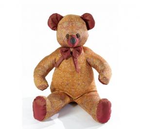 . Мишка (мягкая игрушка) в текстиле с оранжевым узором (60 см)