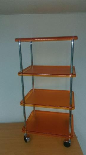 Этажерки для ванной. Этажерка на колесиках с 4-мя полками 5373KA (Оранжевый)