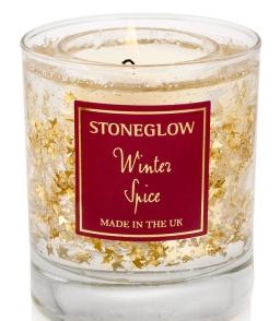 Новый Год. Свеча в цилиндрическом стаканчике 9х7см Зимние специи от Stone Glow Арт.3571