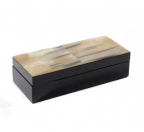 Боксы для часов и украшений Шкатулки Deluxe. Шкатулка черная (темный рог) 24 х 10 см