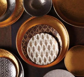 . Набор из 4-х тарелок для канапе Fortuny Piumette Gold