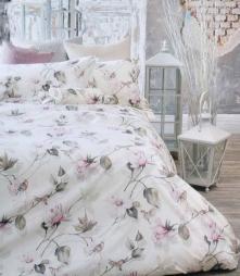 . Постельное белье двуспальное Soave (Соавэ) Молочный с цветами (250х200) от Blugirl