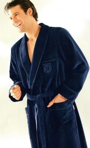 Халаты Одежда для бани и сауны.          Халат мужской 3799. Темно-синий