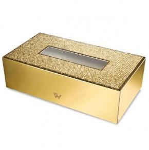 Салфетницы настольные настенные. Бокс для салфеток салфетница прямоугольный 87539O Star Light Gold Swarovski