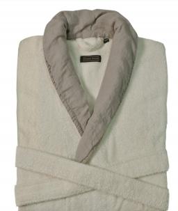 Халаты Одежда для бани и сауны. Халат  HAMPTON (S/M; L/XL) слоновая кость-дым от Casual Avenue