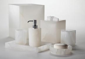 Аксессуары для ванной настольные. Hielo натуральный камень Оникс белый настольные аксессуары для ванной
