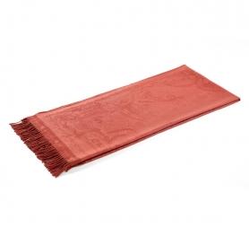 Пледы Покрывала Deluxe. Плед шерстяной (темно-красный с узором) с бахромой