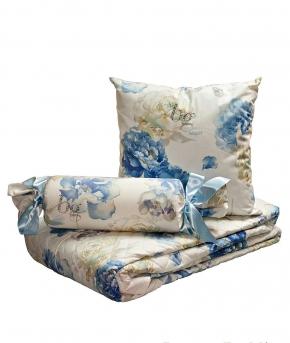 . Покрывало 270х270, подушечка-карамелька 36 и подушечка 42х42 Isabel сине-голубые цветы от Blugirl